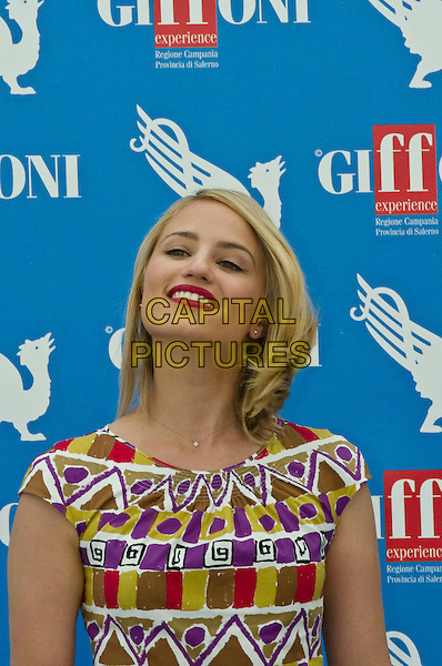 Dianna Agron .At the 2012 Giffoni Film Festival in Giffoni Valle Piana, Italy..July 22nd, 2012.half length white dress red white green purple pattern print smiling lipstick headshot portrait .CAP/IPP.©IPP/Capital Pictures.