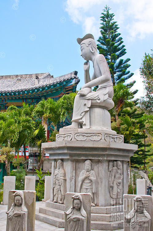 A statue of Maitreya at Mu-Ryang-Sa (or Broken Ridge Temple), a Korean Buddhist temple in Palolo Valley, Honolulu, O'ahu, whose offerings include Buddhist teachings and meditation.