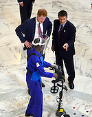 Prince Harry visits an exhibition in the Russell Senate Office Building on Capitol Hill in Washington, D.C. staged by the HALO Trust on Thursday, May 9, 2013.  The HALO Trust's purpose is to remove land mines and other debris left behind by war that might present a danger to civilians..Credit: Ron Sachs / CNP