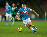 Napoli's Marek Hamsik controls the ball during the  italian serie a soccer match,between SSC Napoli and Sassuolo    at  the San  Paolo   stadium in Naples  Italy ,Napoli  wins  3-1