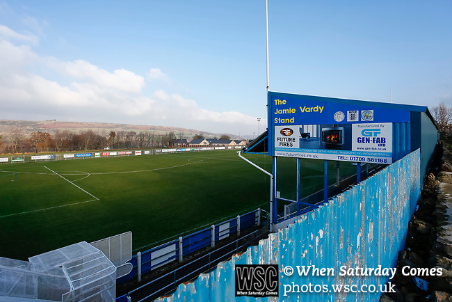 The Jamie Vardy Stand at the Look Now Stadium, Stocksbridge. Stocksbridge Park Steels v Pickering Town,  Evo-Stik East Division, 17th November 2018. Stocksbridge Park Steels were born from the works team of the local British Steel plant that dominates the town north of Sheffield.<br />
