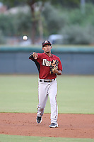 Alvaro Rondon (3) of the AZL Diamondbacks makes a throw during a game against the AZL Dodgers at the Los Angeles Dodgers Spring Training Complex on July 3, 2015 in Glendale, Arizona. Diamondbacks defeated the Dodgers, 5-1. (Larry Goren/Four Seam Images)
