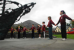Pupils from St Augustine's National School in Murrisk, Co Mayo holding a minutes silence at the National Famine Monument as part of the events leading to the National Famine Commemoration that will take place in Murrisk on sunday...Pic Conor McKeown..Photo Conor McKeown