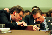 """Richard Masur, President of the Screen Actors Guild, discusses the """"anti-paparazzi"""" bill with Michael J. Fox during testimony before the United States House Judiciary Committee in Washington, D.C. in favor of the """"anti-paparazzi"""" bill on May 21, 1998.  If enacted the legislation would protect individuals from overly intrusive reporters and photographers..Credit: Ron Sachs / CNP"""