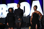 "Samantha Williams, Nasia Thomas and N'Kenge  from ""Caroline or Change""  during the BroadwayCON 2020 First Look at the New York Hilton Midtown Hotel on January 24, 2020 in New York City."