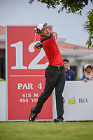 Cheng JIN (CHN) watches his tee shot on 12 during Rd 4 of the Asia-Pacific Amateur Championship, Sentosa Golf Club, Singapore. 10/7/2018.<br /> Picture: Golffile | Ken Murray<br /> <br /> <br /> All photo usage must carry mandatory copyright credit (© Golffile | Ken Murray)
