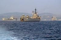 - amphibious assault ships of several NATO nations off the coast of Cape Teulada military polygon (Sardinia)....- navi da assalto anfibio di varie nazioni NATO al largo del poligono militare di Capo Teulada (Sardegna)