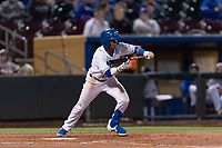 Omaha Storm Chasers third baseman Jecksson Flores (2) attempts to bunt during a Pacific Coast League game against the Memphis Redbirds on April 26, 2019 at Werner Park in Omaha, Nebraska. Memphis defeated Omaha 7-3. (Zachary Lucy/Four Seam Images)