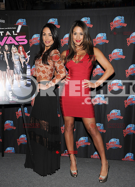 """NEW YORK, NY - MARCH 13:WWE Divas """"The Bella Twins"""" (Nikki and Brie Bella) promote their E! series at Planet Hollywood Times Square in New York City ,March 13, 2014 in New York City. © HP/Starlitepics/NortePhoto"""