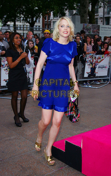 "LAUREN LAVERNE .Attends the ""Angus, Thongs and Perfect Snogging"" UK Film Premiere at the Empire Cinema, London, England, .July 16, 2008..full length blue dress purple gold wedges Vivienne Westwood tartan plaid bag.CAP/ROS.©Steve Ross/Capital Pictures"