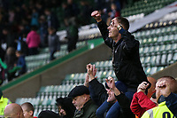 Fleetwood Town fans celebrate a 2-0 victory over Plymouth Argyle<br /> <br /> Photographer Andrew Kearns/CameraSport<br /> <br /> The EFL Sky Bet League One - Plymouth Argyle v Fleetwood Town - Saturday 7th October 2017 - Home Park - Plymouth<br /> <br /> World Copyright &copy; 2017 CameraSport. All rights reserved. 43 Linden Ave. Countesthorpe. Leicester. England. LE8 5PG - Tel: +44 (0) 116 277 4147 - admin@camerasport.com - www.camerasport.com