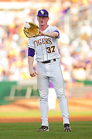 Relief pitcher Ryan Eades #37 of the LSU Tigers catches the ball during a game against the Wake Forest Demon Deacons at Alex Box Stadium on February 19, 2011 in Baton Rouge, Louisiana.  The Tigers defeated the Demon Deacons 4-3.  Photo by Brian Westerholt / Four Seam Images