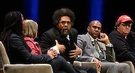 January 12, 2012  (Washington, DC)  Radio and television talk show host Tavis Smiley moderated a panel discussion on restoring America's prosperity at the George Washington University Lisner Auditorium in Washington. (L-R) Majora Carter, Barbara Ehrenreich, Dr. Cornell West, Tavis Smiley, Michael Moore  (Photo by Don Baxter/Media Images International)