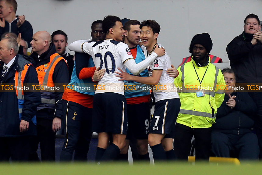 Son Heung-Min of Tottenham Hotspur is congratulated after scoring the third goal during Tottenham Hotspur vs Millwall, Emirates FA Cup Football at White Hart Lane on 12th March 2017