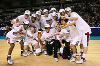 5 March 2007: Jayne Appel, Jillian Harmon, Kristen Newlin, Morgan Clyburn, Brooke Smith, Melanie Murphy, Christy Titchenal, Michelle Harrison, Candice Wiggins, Clare Bodensteiner, Markisha Coleman, Rosalyn Gold-Onwude, J.J. Hones, and Cissy Pierce celebrate during Stanford's 62-55 win over ASU in the finals of the women's Pac-10 tournament championship at HP Pavilion in San Jose, CA.