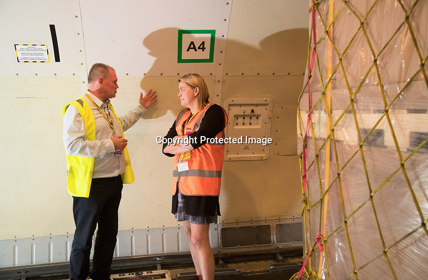 05/06/18<br /> <br /> Baroness Sugg CBE, Parliamentary Under Secretary of State for Transport, visits DHL's hub at East Midlands Airport.<br /> <br /> All Rights Reserved: F Stop Press Ltd. +44(0)1335 344240  www.fstoppress.com www.rkpphotography.co.uk