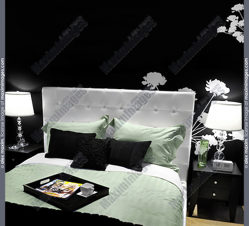 Stylish bedroom interior design in black white green colors