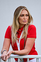 Dustin Johnson's (USA) fiancee Paulina Gretzky watches near the first tee during round 2 Four-Ball of the 2017 President's Cup, Liberty National Golf Club, Jersey City, New Jersey, USA. 9/29/2017.<br /> Picture: Golffile | Ken Murray<br /> <br /> All photo usage must carry mandatory copyright credit (&copy; Golffile | Ken Murray)