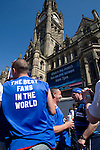 Rangers Fans in Manchester, 14/05/2008. Albert Square, UEFA Cup Final. Fans of Glasgow Rangers gathering in the centre of Manchester to watch the UEFA Cup final against Zenit St. Petersburg on a large screen in Albert Square, the location of one of the UEFA Fan Zones. The match was staged at the City of Manchester Stadium and was won by the Russian team by two goals to nil. It was Rangers' first European final appearance since they won the Cup-Winners Cup in 1972 and around 150,000 fans gathered in Manchester. Photo by Colin McPherson.