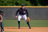 New York Yankees Matt McGarry (9) during a Minor League Spring Training game against the Philadelphia Phillies on March 23, 2019 at the New York Yankees Minor League Complex in Tampa, Florida.  (Mike Janes/Four Seam Images)