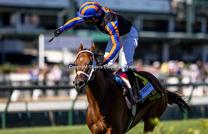 September 5, 2020: Beau Recall, #6, ridden by jockey Manuel Franco, wins the Longines Churchill Distaff Turf Mile on Kentucky Derby Day. The races are being run without fans due to the coronavirus pandemic that has gripped the world and nation for much of the year, with only essential personnel, media and ownership connections allowed to attend at Churchill Downs in Louisville, Kentucky, on September 05, 2020. Evers/Eclipse Sportswire/CSM