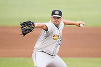 Charleston RiverDogs relief pitcher Omar Luis (20) in action against the Kannapolis Intimidators at CMC-NorthEast Stadium on June 28, 2014 in Kannapolis, North Carolina.  The Intimidators defeated the RiverDogs 4-3. (Brian Westerholt/Four Seam Images)