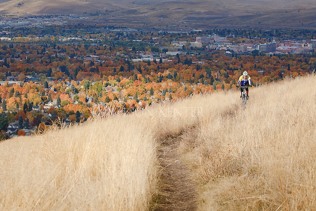 Mountain biking on Mount Sentinel in Missoula Montana