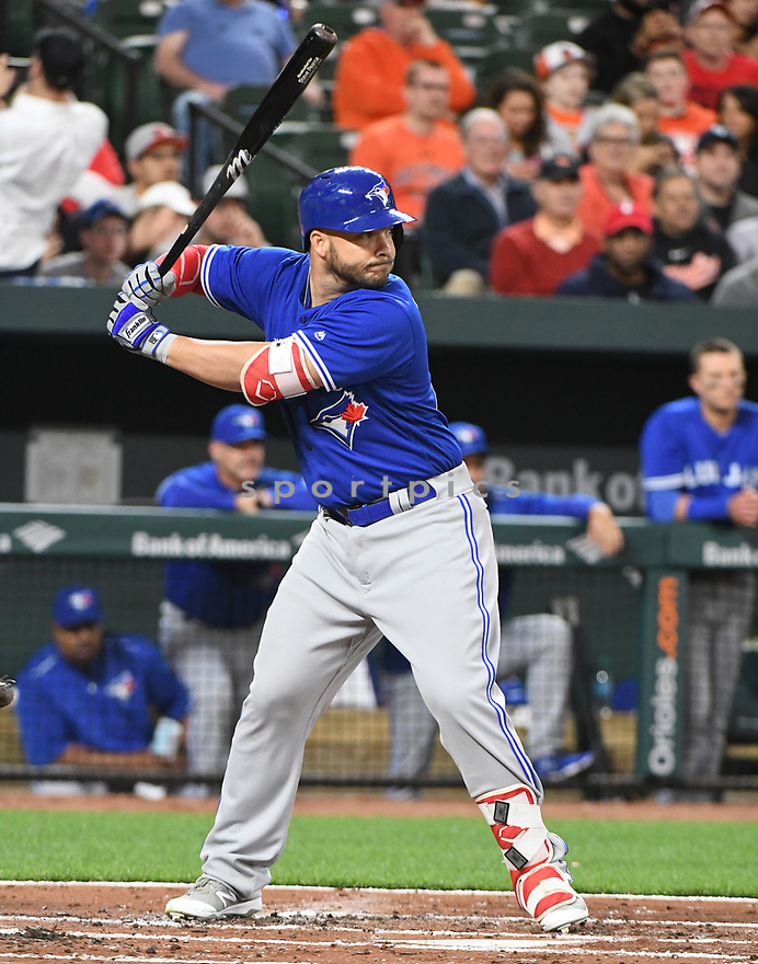Toronto Blue Jays Steve Pearce (28) during a game against the Baltimore Orioles on April 5, 2017 at Oriole Park at Camden Yards in Baltimore, MD. The Orioles beat the Blue Jays 3-1.