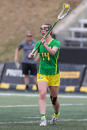 Towson, MD - March 25, 2017: Oregon Ducks Bella Pyne (14) in action during game between Towson and Oregon at  Minnegan Field at Johnny Unitas Stadium  in Towson, MD. March 25, 2017.  (Photo by Elliott Brown/Media Images International)