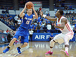 February 20, 2016 - Colorado Springs, Colorado, U.S. -   Air Force guard, Jacob Van #15, works the sideline against New Mexico guard, Sam Longwood #20, during an NCAA basketball game between the University of New Mexico Lobos and the Air Force Academy Falcons at Clune Arena, United States Air Force Academy, Colorado Springs, Colorado.  Air Force defeats New Mexico 76-72.