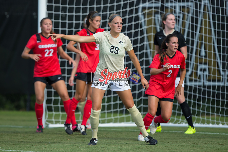 Kate Ravenna (29) of the Wake Forest Demon Deacons on defense during second half action against the Georgia Bulldogs at Spry Soccer Stadium on August 23, 2015 in Winston-Salem, North Carolina.  The Deacons defeated the Bulldogs 4-0.  (Brian Westerholt/Sports On Film)