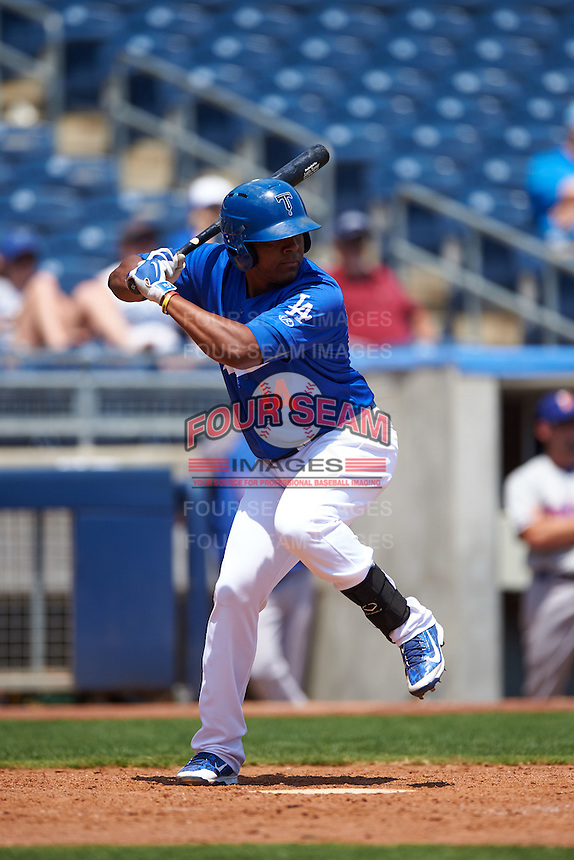 Tulsa Drillers third baseman Daniel Mayora (14) at bat during a game against the Midland RockHounds on June 3, 2015 at Oneok Field in Tulsa, Oklahoma.  Midland defeated Tulsa 5-3.  (Mike Janes/Four Seam Images)