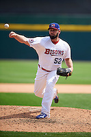 Buffalo Bisons pitcher Todd Redmond (52) delivers a pitch during a game against the Columbus Clippers on July 19, 2015 at Coca-Cola Field in Buffalo, New York.  Buffalo defeated Columbus 4-3 in twelve innings.  (Mike Janes/Four Seam Images)