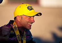 Nov 3, 2019; Las Vegas, NV, USA; NHRA pro stock motorcycle rider Matt Smith celebrates after winning the Dodge Nationals at The Strip at Las Vegas Motor Speedway. Mandatory Credit: Mark J. Rebilas-USA TODAY Sports