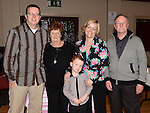 Roisin Stokes pictured with husband Alan, son Jamie and Parents in law Fred and Rose at her homecoming party at the Hunterstown Inn. Photo:Colin Bell/pressphotos.ie