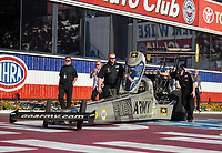 Nov 11, 2018; Pomona, CA, USA; Crew members for NHRA top fuel driver Tony Schumacher during the Auto Club Finals at Auto Club Raceway. Mandatory Credit: Mark J. Rebilas-USA TODAY Sports