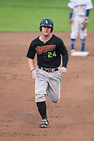 Great Falls Voyagers left fielder Alex Destino (24) runs to third base during a Pioneer League against the Ogden Raptors at Lindquist Field on August 23, 2018 in Ogden, Utah. The Ogden Raptors defeated the Great Falls Voyagers by a score of 8-7. (Zachary Lucy/Four Seam Images)
