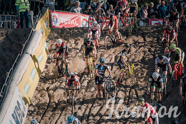 riders descending in the infamous Zonhoven 'Kuil' (or 'Pit'), with Tom Pidcock (GBR/U23/Telenet Fidea Lions) getting back on his bike after having crashed there<br /> <br /> U23 race<br /> CX Super Prestige Zonhoven 2017