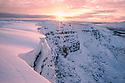 Snaking cornice edge above Alport Dale. Peak District National Park, Derbyshire, UK. December.