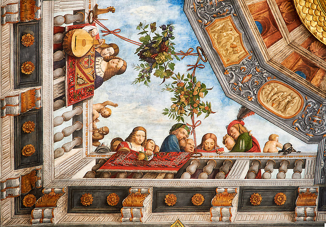 Renaissance ceiling paintings by Benevento Tisi also known as il Garofalo, of the Ferrara Renaissance school of art, depicting an upward perspective scene, The Treasure Hall, Palazzo Costabili, National Archaeological Museum, Ferrara, Italy
