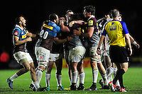 Harlequins players celebrate at the final whistle. Aviva Premiership match, between Harlequins and Bath Rugby on November 27, 2016 at the Twickenham Stoop in London, England. Photo by: Patrick Khachfe / Onside Images