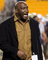 Pitt all-time great Hugh Green encourages the Panthers before the game. The Pittsburgh Panthers beat the UCONN Huskies 35-20 at Heinz field in Pittsburgh, Pennsylvania on October 26, 2011.