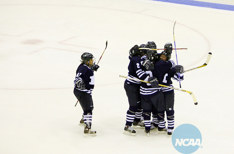 17 MAR 2007:  Teammates celebrate with Shannon Sylvester of Middlebury College after her goal against goalie Bree Doyle of Plattsburgh State during the Division III Women's Ice Hockey Championship held at the Stafford Arena on the Plattsburgh State University campus in Plattsburgh, N.Y.  Plattsburgh State won the match 2-1 taking the NCAA Championship.  Todd Bissonette/NCAA Photos