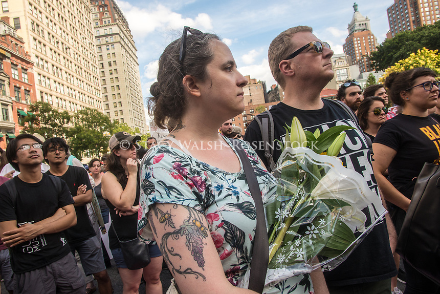 New York, NY, USA - New Yorkers gathered in Union Square to stand in solidarity with the people of Charlottesville, VA, condem the Alt Right, facism, and President Donald Trump. The crowd included acticvists from Democratic Socialists, Black Lives Matter, the ACLU and other groups. ©Stacy Walsh Rosenstock