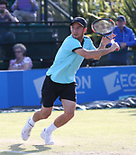 June 16th 2017, Nottingham, England; ATP Aegon Nottingham Open Tennis Tournament day 5;  Dudi Sela of Israel lines up a backhand volley