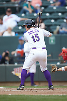 Nate Nolan (15) of the Winston-Salem Dash at bat against the Salem Red Sox at BB&T Ballpark on April 22, 2018 in Winston-Salem, North Carolina.  The Red Sox defeated the Dash 6-4 in 10 innings.  (Brian Westerholt/Four Seam Images)