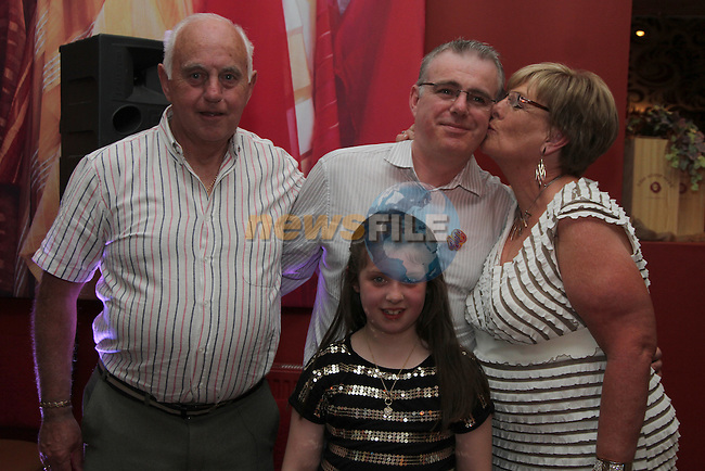 Jason Connor with his parents Paddy and Stella and his daughter Leah at his 40th in Harry's...(Photo credit should read Jenny Matthews www.newsfile.ie)....This Picture has been sent you under the conditions enclosed by:.Newsfile Ltd..The Studio,.Millmount Abbey,.Drogheda,.Co Meath..Ireland..Tel: +353(0)41-9871240.Fax: +353(0)41-9871260.GSM: +353(0)86-2500958.email: pictures@newsfile.ie.www.newsfile.ie.