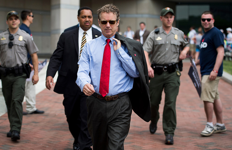 UNITED STATES - MAY 18: Presidential candidate Sen. Rand Paul, R-Ky., walks to Independence Hall after speaking at the National Constitution Center in Philadelphia on Monday, May, 18, 2015. (Photo By Bill Clark/CQ Roll Call)