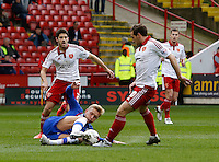 Sheffield United v Gillingham .Sky Bet League 1 ....... gillinghams Brennan Dickenson pinches the ball off utds billy sharp