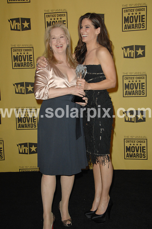 **ALL ROUND PICTURES FROM SOLARPIX.COM**.**SYNDICATION RIGHTS FOR UK, AUSTRALIA, DENMARK, PORTUGAL, S. AFRICA, SPAIN & DUBAI (U.A.E) ONLY**.15th Annual Critics' Choice Movie Awards Press Room at the The Hollywood Palladium , Hollywood, CA, USA. 15 January 2010..This pic: Meryl Streep and Sandra Bullock..JOB REF: 10479 PHZ Charlotte   DATE: 15_01_2010.**MUST CREDIT SOLARPIX.COM OR DOUBLE FEE WILL BE CHARGED**.**MUST NOTIFY SOLARPIX OF ONLINE USAGE**.**CALL US ON: +34 952 811 768 or LOW RATE FROM UK 0844 617 7637**